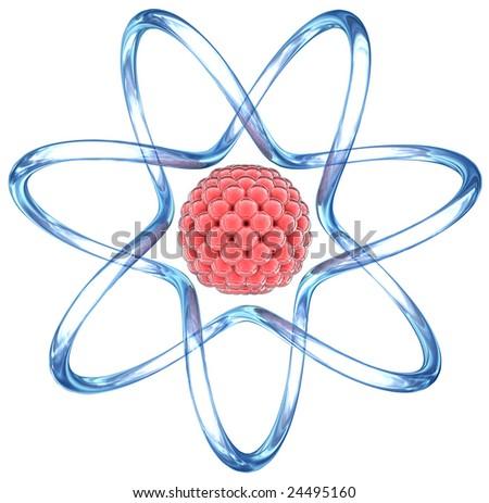 Atom with orbits. 3D image. - stock photo