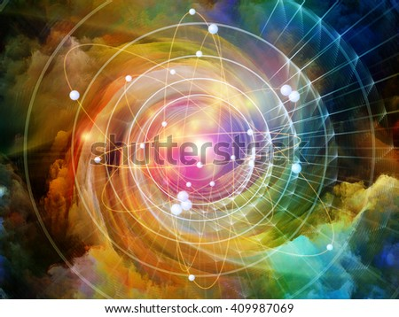 Atom Within series. Abstract design made of electron orbits and fractal pattern on the subject of science and technology - stock photo