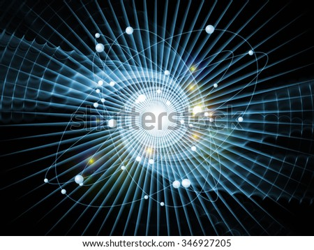 Atom Within series. Background design of electron orbits and fractal pattern on the subject of science and technology - stock photo