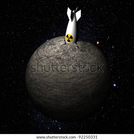 atomic bomb on the planet in space - stock photo