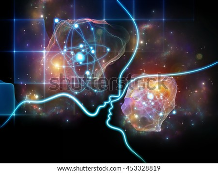 Atomic Mind series. Arrangement of human profiles, particle, electron and nucleus symbols on the subject of reason, science, technology and education