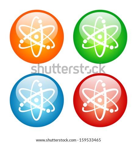 Atomic Symbol Icon Glass Button Icon Set.  Raster version. - stock photo