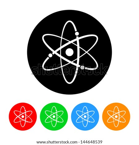 Atomic Symbol Icon with Color Variations.  Raster version, vector also available. - stock photo