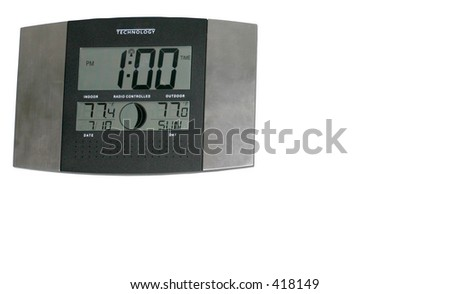 Atomic Wall Clock indicating time, temperature, date and moon phase - stock photo