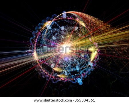 Atomic Wave  series. Background design of lights, orbits , waves and fractal elements on the subject of science, theoretical physics, technology and education