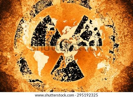 atomic world map - stock photo