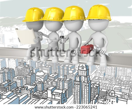 Atop a Skyscraper. Dude the construction workers sitting on a Crossbeam. Cityscape background. - stock photo