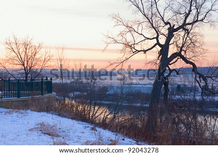 Atop Daytons Bluff in Indian Mounds Park overlooking Mississippi River and Holman Airfield at dawn in Saint Paul Minnesota - stock photo