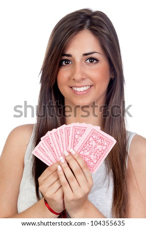 Atractive girl playing cards isolated on white background - stock photo