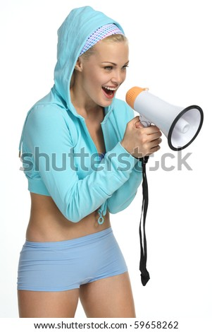 Atractive woman shouting in loud-speaker - stock photo