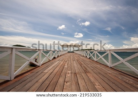 Atsadang wooden bridge on Koh Sichang, Thailand