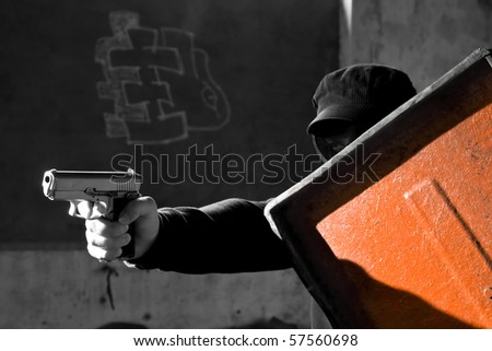 attack and defense - stock photo