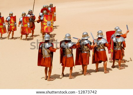 Attack and defense position for Roman soldiers during Roman show in Jerash, Jordan - stock photo
