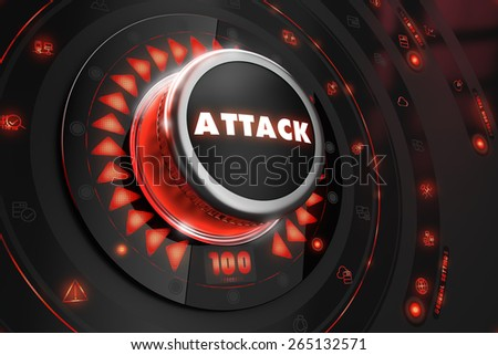 Attack Controller on Black Control Console with Red Backlight. Danger or Risk Control Concept. - stock photo