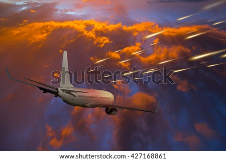 Attack of the asteroid on the Earth  - stock photo
