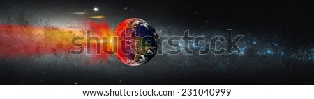 "Attack of the asteroid on the Earth against milky way ""Elements of this image furnished by NASA ""  - stock photo"