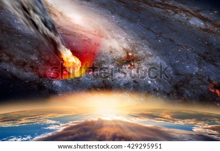 "Attack of the asteroid on the Earth against milky way  ""Elements of this image furnished by NASA - stock photo"