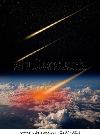 "Attack of the asteroid on the earth ""Elements of this image furnished by NASA  - stock photo"