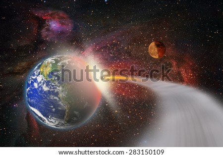 """Attack of the asteroid on the Earth """"Elements of this image furnished by NASA """" - stock photo"""