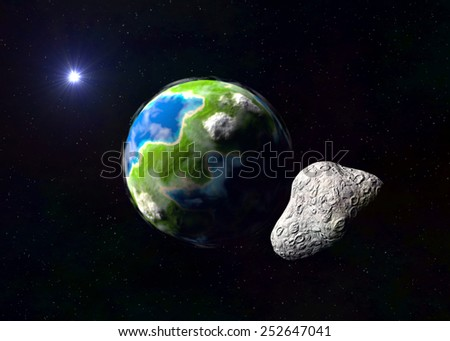 Attack of the asteroid on the Earth exoplanet - stock photo