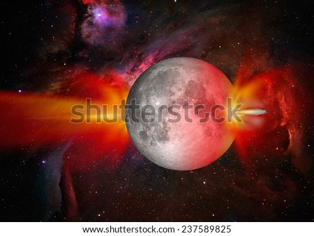 """Attack of the asteroid on the Lunar """"Elements of this image furnished by NASA  - stock photo"""