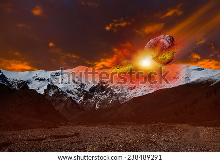 "Attack of the asteroid on the Mountain ""Elements of this image furnished by NASA ""  - stock photo"