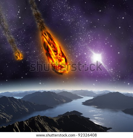 Attack of the asteroid on the planet in the universe. Abstract illustration of a meteor impact. - stock photo