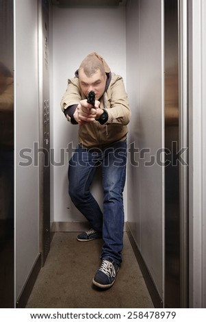 Attacking criminal - stock photo