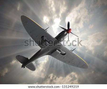 Attacking fighter. Retro style picture with war theme. - stock photo