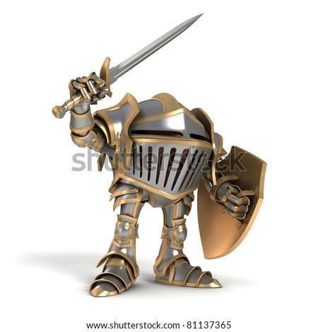 Attacking knight - stock photo