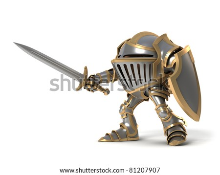 Attacking knight - stock photo