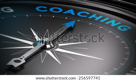 Attain personal goals, personal trainer concept. Conceptual Compass with needle pointing to the word coaching. - stock photo