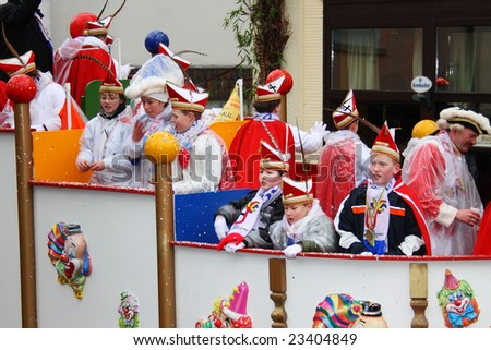 ATTENDORN, GERMANY - FEBRUARY 5, 2008: Carnival procession on Shrove Tuesday, traditional yearly masquerade in a little German town, February 5, 2008 in Attendorn near Cologne - stock photo