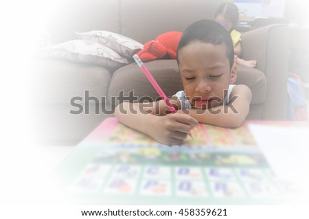 Attention Deficit Hyperactivity Disorder,ADHD child acrivity therapy - stock photo