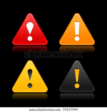 Attention icon web 2.0 button with exclamation mark. Satin triangle shape with reflection on black. Bitmap copy my vector ID: 66298705 - stock photo