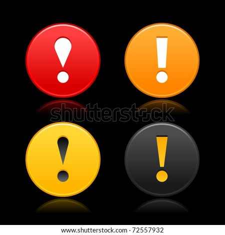 Attention sign with exclamation mark symbol. Round web 2.0 button with reflection on black. Bitmap copy my vector ID: 61786741 - stock photo