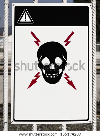 Attention! : There is a risk of death (exposed high voltage) - stock photo