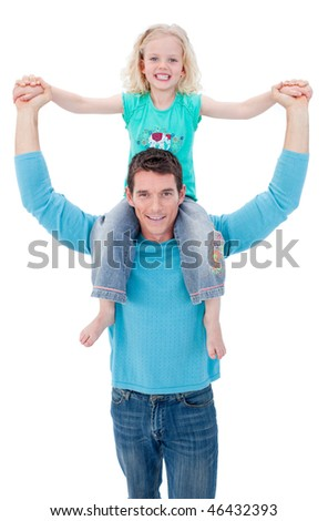 Attentive father giving his daughter piggyback ride against a white background