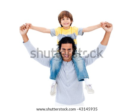 Attentive father playing with his son against a white background - stock photo