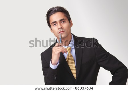 Attentive listening pose by a meeting participant - stock photo