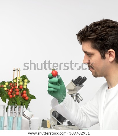 Attentive male biologist or tech with tomato plant. Shallow DOF, focus on the hand that holds sample.