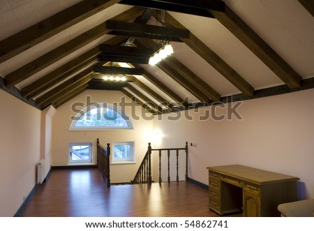 attic interior - stock photo