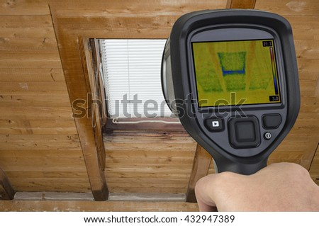 Attic Window Thermal Leak Permeability - stock photo
