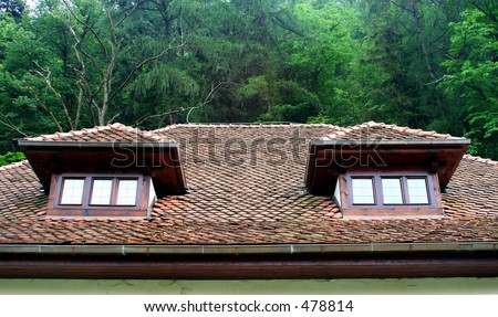 Attic windows - stock photo