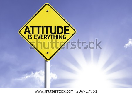 Attitude is Everything road sign with sun background  - stock photo