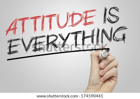 Attitude is Everything written on a board with a red and black marker - stock photo