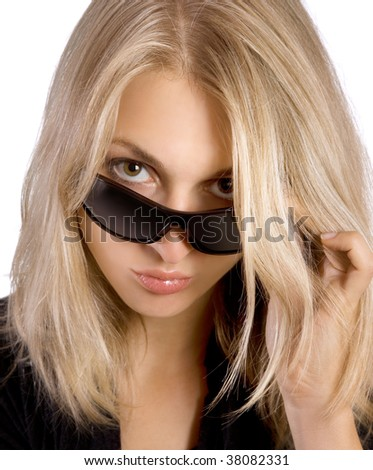 Attracive young woman with sunglasses on white - stock photo