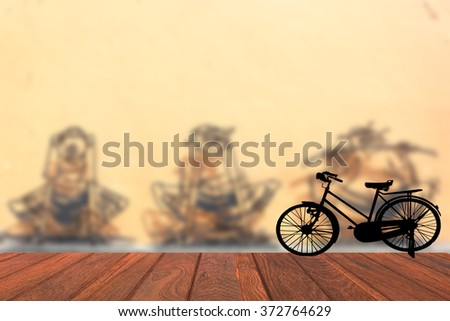 Attractions Penang silhouette old bike   Blurred background  - stock photo