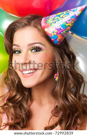 attractiv teenager celebrating her birthday - stock photo