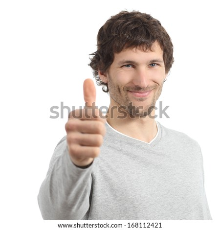 Attractive adult man agree with thumb up isolated on a white background